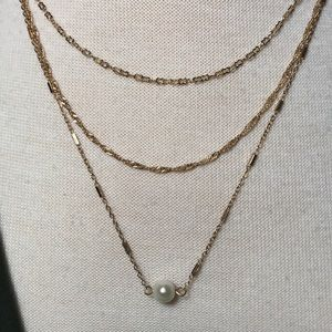Gold Single Pearl Layered Necklace